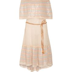 Miguelina Amaya off-the-shoulder striped cotton-blend midi dress ($160) ❤ liked on Polyvore featuring dresses, clothes / dresses, cream, striped off the shoulder dress, pink midi dress, indian party dresses, midi party dresses and beach party dresses