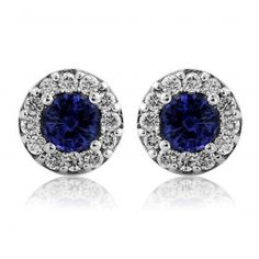 Rudells 18ct White Gold Sapphire and Diamond Stud Earrings - Small Image