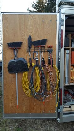 #2 of 8 BEST PLANNED WORK TRAILER. Hang lighter and frequently used items on door so it doesn't rack the door. Husky makes these great velcro  straps with hooks for managing and hanging extension cords. Hang items away from the edges of the door so they don't interfere with closing them. Good luck organizing.