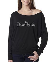 "Rhinestone ""Team Bride"" Off Shoulder Shirt"