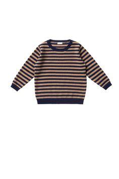 PULL À COL ROND RAYÉ BLEU ET BISCUIT 100% CACHEMIRE - sweatshirts et pull   Il Gufo