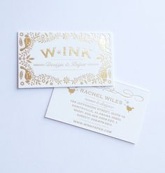 Gold foil stamped business cards on double thick Crane Lettra by Rachel Wiles/Benign Objects.