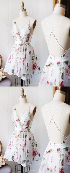 white chiffon floral short beach summer dresses for teens, spaghetti starps cross back homecoming party dress #floral #homecoming