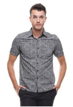 Pria > Pakaian > Atasan > Kemeja > LGS - Regular Fit - Kemeja Casual - Motif Batik - Abu > LGS