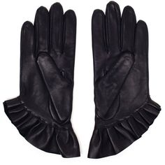 J.W.ANDERSON Pleated Leather Gloves (230 CAD) ❤ liked on Polyvore featuring accessories, gloves, leather gloves and j.w. anderson