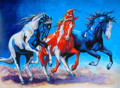 Wild Bunch! Western horse equine art from the Cowgirl & Cows Collection by artist Beverly Caputo