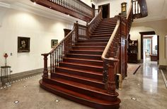 This 1898 Melbourne abode packs plenty of punch, inside & out! Amazing marble-type floors with imposing grand staircase with balcony, hi ceilings & skirts, archways - designed to impress. Inglenook Fireplace, House Stairs, Exposed Beams, Grand Staircase, Townhouse, Property For Sale, Luxury Homes, Real Estate, Cottage
