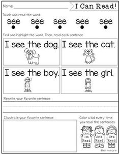 Sight Word Fluency and Reading Intervention - Miss Kindergarten Miss Kindergarten, Kindergarten Language Arts, Kindergarten Worksheets, Learn To Read Kindergarten, Teaching Sight Words, Sight Word Practice, Fluency Practice, Sight Word Worksheets, Sight Word Activities