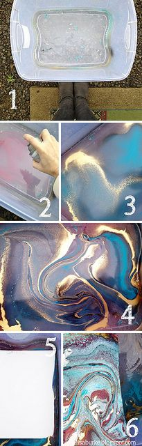 By Alisa Burke. Easy Marbelized Paper. 1. Fill a tub (large enough to fit the watercolor paper) with 2-3 inches of water. 2. Using spray paint, mist the surface of the water (FYI- this should be done outside). 3. Add more color to the water. 4. Let the colors blend together, shake the tub or stir to create swirls & designs. 5. Place the paper onto the surface of the water & quickly remove. Spray paint dries quickly so work fast! 6. The result is a colorful, fast drying piece of marbleized…
