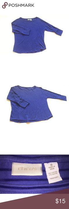 Chico's 3/4 Sleeve Striped Top size 0 Shoulder to Bottom: 23 inches Armpit to Armpit: 20 1/2 inches Armpit to end of Sleeve: 11 1/2 inches  Inventory # C3 Chico's Tops Blouses