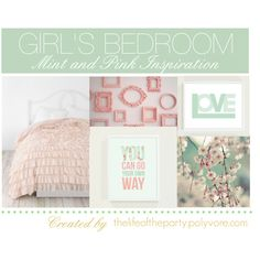 """""""Girl's Bedroom Pink and Mint"""" by thelifeoftheparty on Polyvore    Absolutely LOVE these colors together. Inspiration for Delaney's new room."""