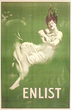 """In 1915, Germans torpedoed and sank the British oceanliner RMS Lusitania. Of 1959 passengers, 1198 died, including women and children. The loss of 128 American lives stimulated anti-German sentiment and led the United States to declare war. This iconic """"ENLIST"""" poster design, with its hauntingly beautiful illustration and 1-word message, brilliantly emoted sorrow and outrage, then prompted action: young men prepared for war."""