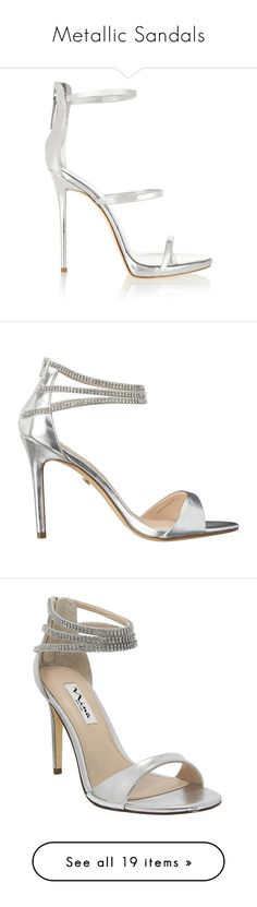 """""""Metallic Sandals"""" by jackinurcrack ❤ liked on Polyvore featuring shoes, sandals, heels, giuseppe zanotti, silver, strappy sandals, strappy heel sandals, metallic heel sandals, leather sandals and high heel sandals"""
