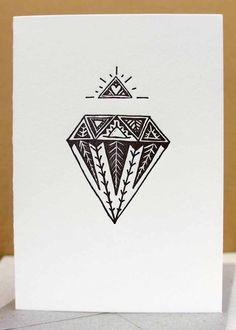 letterpress black diamond card