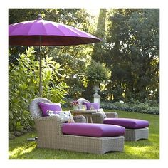 Purple seats and umbrella for relaxing from crate and barrel ~ Loving it
