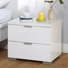 Simple Living Zuri High Gloss Nightstand | Overstock.com Shopping - The Best Deals on Nightstands