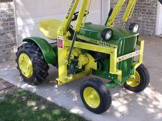 John Deere 110 with Johnson Loader John Deere Garden Tractors, Lawn Tractors, Lawn Mower Tractor, Tractor Loader, Ford Tractors, Antique Tractors, Vintage Tractors, Garden Tractor Attachments, Homemade Tractor