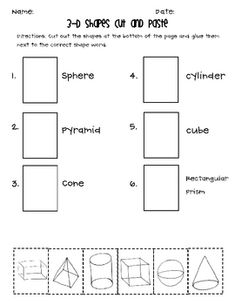 This cut and paste is a great addition to your 3-D shapes curriculum. It can be used as a review or assessment. If you are interested in more 3-D s...