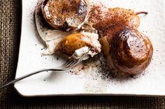 Roasted Pears with Espresso Mascarpone Cream