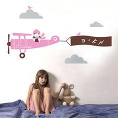 pilot girl , מדבקות קיר- מומלץ | מדבקות לקיר  לחדר ילדים | מדבקות לחדרי ילדיםpilot girl