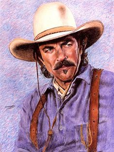 Tom Selleck - Don Marco crayon art Tom Selleck, Cow Girl, Cow Boys, Cowboy Art, Cowboy And Cowgirl, Cowboy Pics, Vintage Cowgirl, Sam Elliott, Crayon Art