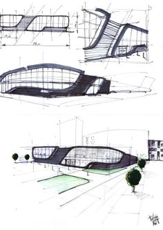 Architecture Concept Drawings, Architecture Drawings, Futuristic Architecture, Facade Architecture, Architecture Memes, Mall Design, Showroom Design, Bungalow Haus Design, Shopping Mall Architecture