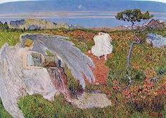 Segantini, L'amore alla fonte della vita, 1896. Milan, Palazzo Reale. The painting is the love merry and carefree woman and the pensive male, connected with the natural impulse of youth and spring. An angel suspicious, stretches the large wing on the mysterious source of life. The living water flows from the rock, both symbols of eternity.