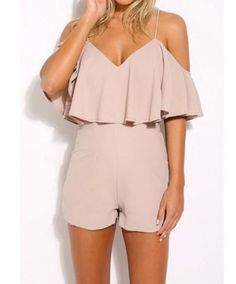 Wheretoget - Nude off-the-shoulder romper