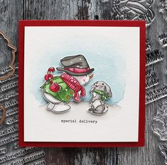 Holiday Card Series 2020 – Day 23 – Snowman Watercolor Scene – kwernerdesign blog Holiday Cards, Christmas Cards, Art Impressions Stamps, Snowman Cards, Black Pigment, Gold Watercolor, Bone Folder, Happy Wednesday, Card Tutorials