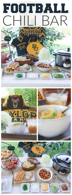 This football party also has a delicious DIY chili bar! See more party ideas at … This football party also has a delicious DIY chili bar! See more party ideas at …,orange This football. Football Tailgate, Football Snacks, Bears Football, Football Birthday, Tailgate Food, Football Parties, Baylor Baseball, Football Season, Tailgate Parties