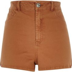 River Island Brown high waisted Nori shorts ($50) ❤ liked on Polyvore featuring shorts, bottoms, brown, denim shorts, women, highwaisted denim shorts, stretch jean shorts, stretchy jean shorts and highwaisted shorts