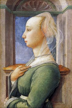 Portrait of a Woman, 1440 Filippo Lippi Italian Renaissance Painting. Look at the beads on the veil. and the renaissance rings on fingers. Renaissance Kunst, Renaissance Portraits, Renaissance Artists, Renaissance Paintings, Italian Renaissance, Medieval Paintings, Renaissance Jewelry, Landsknecht, Italian Painters