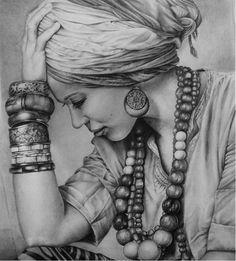 Woman drawing girl beads pencil drawing drawings black and white
