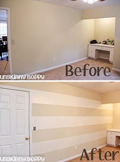 painting stripes on wall before and after2