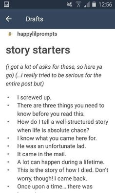 Story starters...