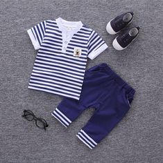 2018 Newborn Baby Clothes Set Cotton Baby Clothing Suit (Shirt+Pants)