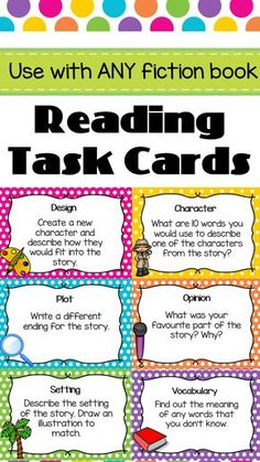 Reading Task C ards. Great for guided reading. Includes 44 questions- character, setting, plot, opinion, vocabulary and design. Reading Centers, Reading Groups, Reading Workshop, Reading Skills, Teaching Reading, Guided Reading Activities Ks2, Teaching Plot, Spelling Word Activities, Learning