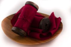 Hand Dyed Silk Ribbon  Burgundy Ribbon  Wedding Bridal