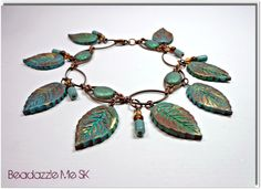 Polymer clay Copper Verdigris Leaf Bracelet by BeadazzleMe on Etsy, $22.00