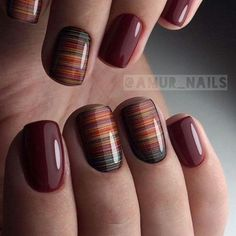 Nail art is a very popular trend these days and every woman you meet seems to have beautiful nails. It used to be that women would just go get a manicure or pedicure to get their nails trimmed and shaped with just a few coats of plain nail polish. Gel Nail Art Designs, Short Nail Designs, Fall Nail Designs, Stripe Nail Designs, Maroon Nail Designs, Nail Lacquer, Nail Polish, Trendy Nails, Cute Nails
