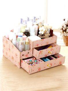 Flower Drawer Desk Organizer -SheIn(Sheinside) Diy Storage Boxes, Diy Makeup Storage, Desk Organization Diy, Craft Room Storage, Cardboard Box Crafts, Paper Crafts, Diy Drawers, Easy Diy Crafts, Jewellery Storage