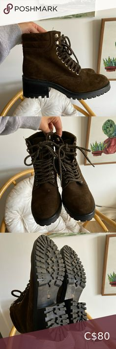 Steve Madden Boots In perfect condition Only worn once Size 8.5 women's Lace up boots Suede exterior Steve Madden Shoes Lace Up Boots Studded Boots, Brown Leather Boots, Brown Boots, Steve Madden Troopa Boots, Long Sleeve Crop Top, Madden Shoes, Lace Up Boots, Winter Boots, Hiking Boots
