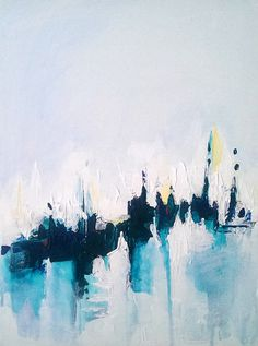 """Abstract painting 30""""x 40"""", painting on canvas, turquoise, white modern artwork, art painting abstract, wall art, stretched canvas,landscape"""