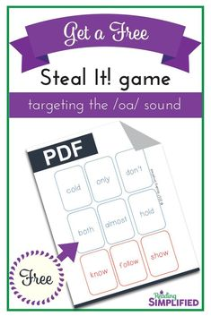 Give your students this fun game (FREE!) and watch them race to read more and more words! The game Steal It! is a sneaky way to get students to recognize both key phonics patterns AND high frequency words.while thinking they're just playing a game. Reading Strategies, Reading Activities, Guided Reading, Teaching Reading, Vowel Activities, Reading Games, Reading Comprehension, Outdoor Activities, Word Study