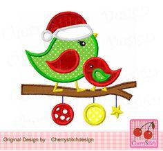 Christmas Birds,Cute Birds,Christmas Digital Applique CH0030 -4x4 5x5 6x6 inch-Machine Embroidery Applique Design by CherryStitchDesign on Etsy