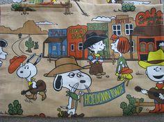 Vintage Peanuts Snoopy Curtain Drapery Panel Western Town Wild
