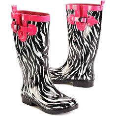 Women's Pop Zebra Rain Boots