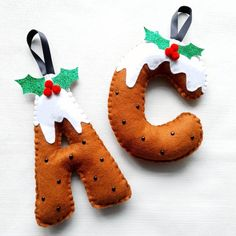 Hanging Letters, Felt Letters, Felt Decorations, Christmas Tree Decorations, Bedroom Bunting, Hobbies And Crafts, Arts And Crafts, Felt Ornaments, Christmas Ornaments