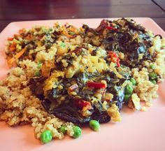 Saag-Stuffed Portobellos with Veggie-Studded Quinoa & Rainbow Carrot Salad