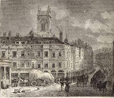 St Andrew's Holborn from Snow Hill in 1850 London Drawing, Victorian London, London History, London Pictures, St Andrews, Old London, Vintage Magazines, Poster Size Prints, Old Houses